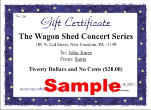Gift Certificate to the Wagon Shed Concert Series